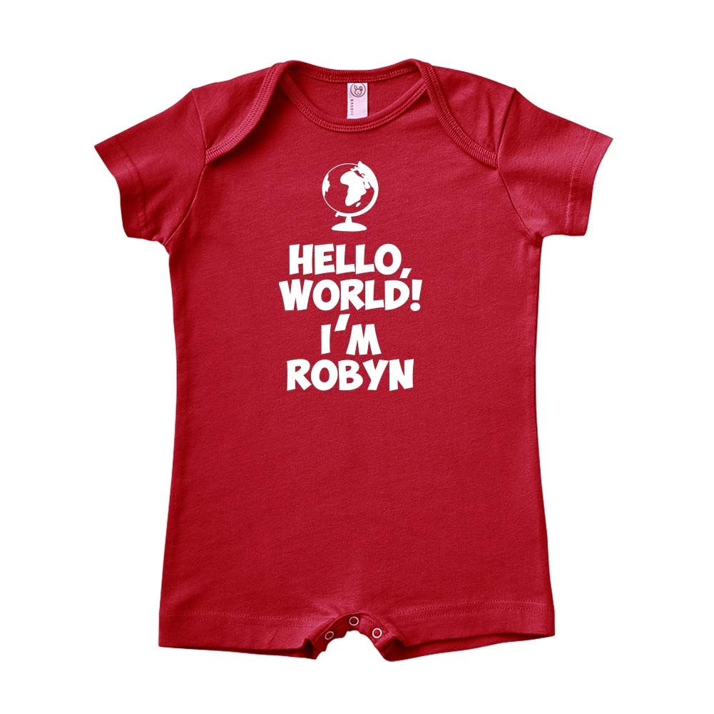 World Im Robyn Mashed Clothing Hello Personalized Name Baby Romper
