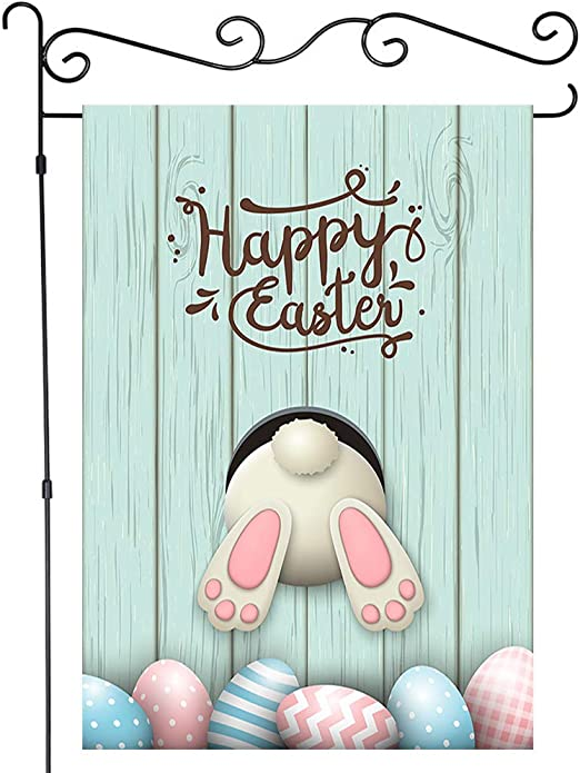 Funny Easter Rabbit Ass Garden Flag Yard Banner Decor House Flags 12x18 Inches