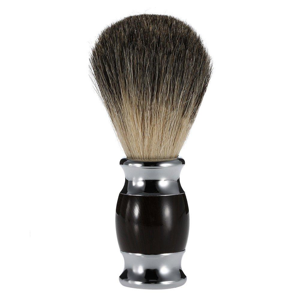 Anself - Brocha de afeitar de 100% pelo de tejón + Inox manija para la limpieza facial