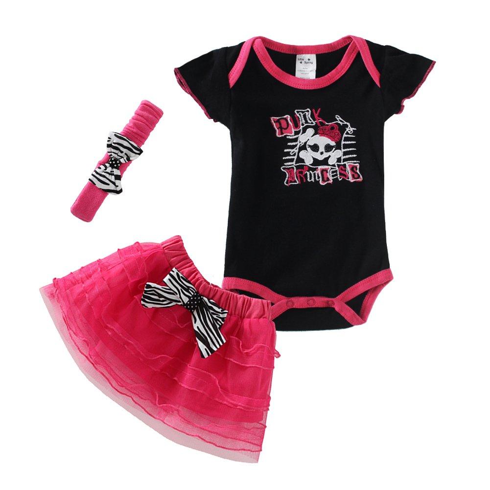 Mud Kingdom Baby Girls Punk Princess CrossBones Summer 3pc Set