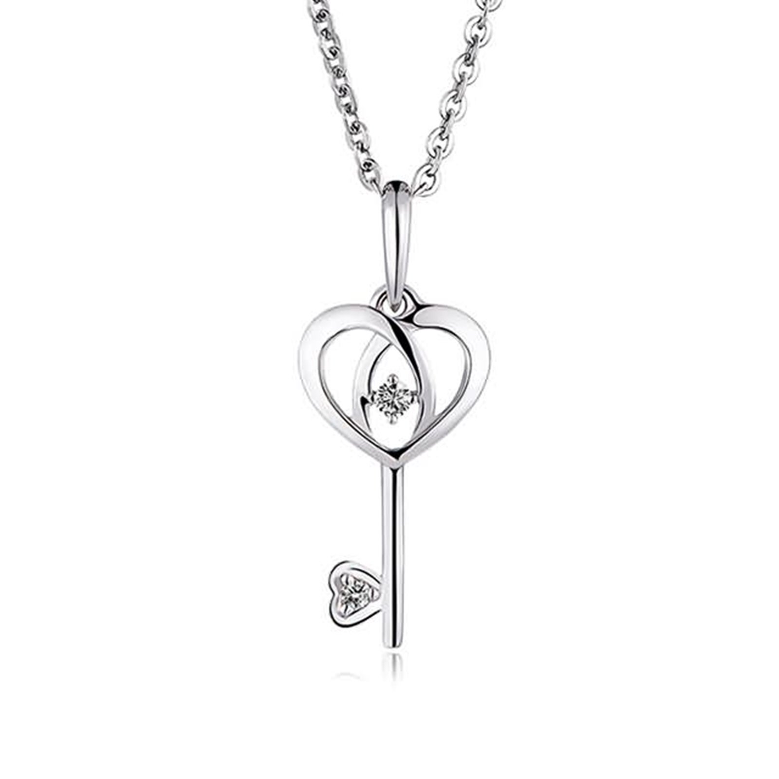 Adisaer 18k(750) White Gold Women Necklace Heart Key Pendant Round Diamond Wedding Necklace