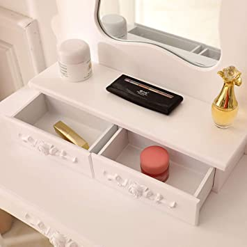 Amazon.com: ryokozashi Vanity Table Set, Wood Makeup ...