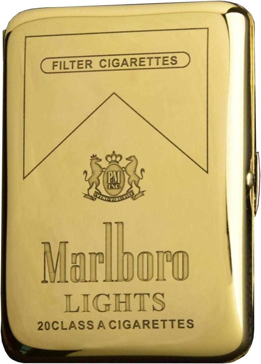 Estuche de Cigarrillos de Metal PortáTil para Hombres Estuche de Cigarrillos de CompresióN Compresiva a Prueba de Humedad FáCil de Poner en El Bolsillo (Color : Marlboro)