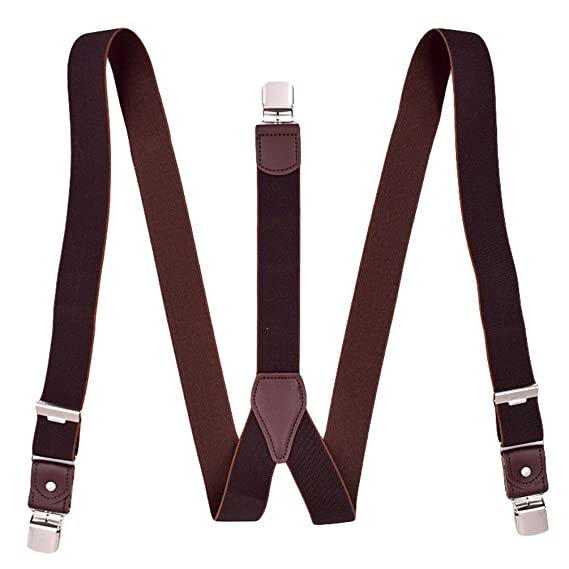 MENDENG Mens Suspenders Y Back Elastic Adjustable Solid Straight Clip Braces