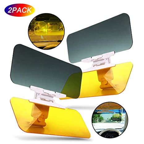 Car Visor Sunglasses with Night Goggles 2 in 1 Car Windshield Extender Anti-Glare Anti-UV Sun Protection Yellow and Gray