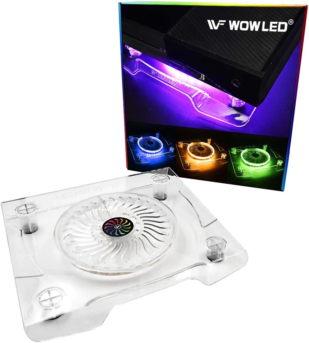 WF Upgrade USB RGB LED Cooler Cooling Fan Stand, Multi-Color LED Light Cooler Pad Stand Accessories for PS4 Playstation 4 Pro, PS4 Slim, Xbox One X, Notebook, Laptop, Consoles
