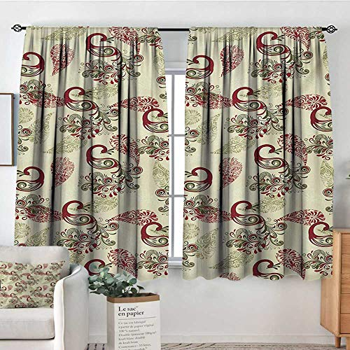 Elliot Dorothy Decor Waterproof Window Curtain Peacock,Winter Pattern with Stylized Peacocks Snowflakes Floral Paisley Ornate,Ruby Olive Green Cream,Darkening and Thermal Insulating Draperies 63