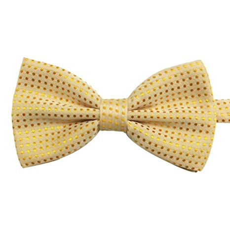 d2bd28924b42e Mens Pre-tied Solid Tuxedo Polka Dots Bowtie Woven Bow Tie (Light Yellow)   Amazon.ca  Luggage   Bags
