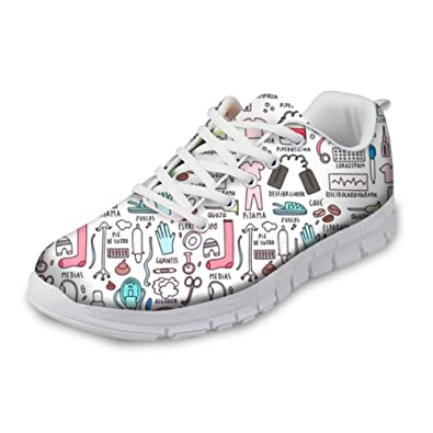 Amazon.com | Instantarts Cartoon Womens Sports Walking Shoes Cute Sneaker Lace up Flats | Fashion Sneakers