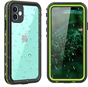 """comosso iPhone 11 Waterproof Case, Full Sealed Rugged Shockproof Dropproof Dustproof Case IP68 Certified Waterproof Cover for iPhone 11(6.1""""-Clear+Green)"""