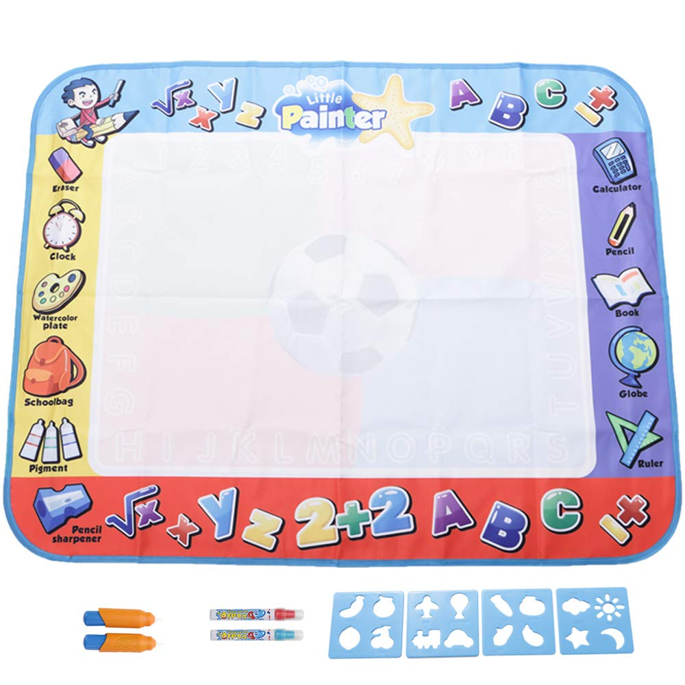 Water Doodle Magic Mat for Kids: Best Large Water Doodle Mat 39.4x31.5 in. Water Drawing Mat with 2 Magic Pens & 2 Magic Brushes, Perfect Multicolor Travel Doodle Toy & Gift for Boys Girls