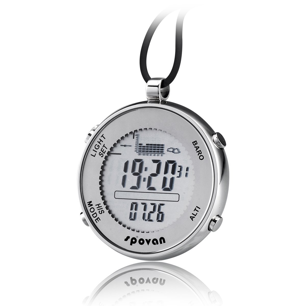 JUSHENG Spovan SPV600 Outdoor Waterproof Digital Fishing Barometer Unisex Pocket Watch Suitable for Climbing Running Fishing competition and other sports by JUSHENG