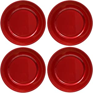 Plate Chargers Set of 4 Red Beaded Rim Round Holiday Table Decoration Heavy-duty Plastic Dinner Party Wedding