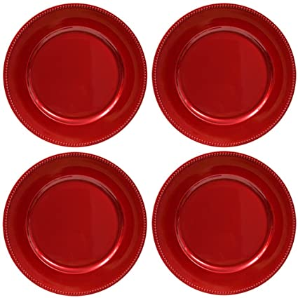 Plate Chargers Set of 4 Red Beaded Rim Round Holiday Table Decoration Heavy-duty Plastic  sc 1 st  Amazon.com & Amazon.com: Plate Chargers Set of 4 Red Beaded Rim Round Holiday ...