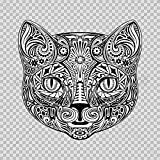 Sticker Floral Domestic Cat Head durable Boat beauty bunch banner cat (3 X 2,90 Inches) Fully Waterproof Printed vinyl sticker