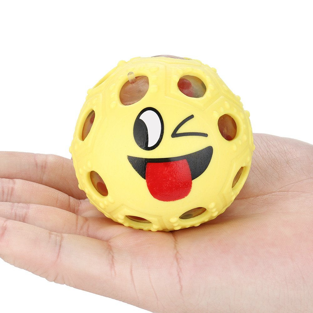 Kanzd Novelty Fun Emoji Grape Ball Mesh Squishies Pressure Ball Stress Reliever Toys (Yellow)