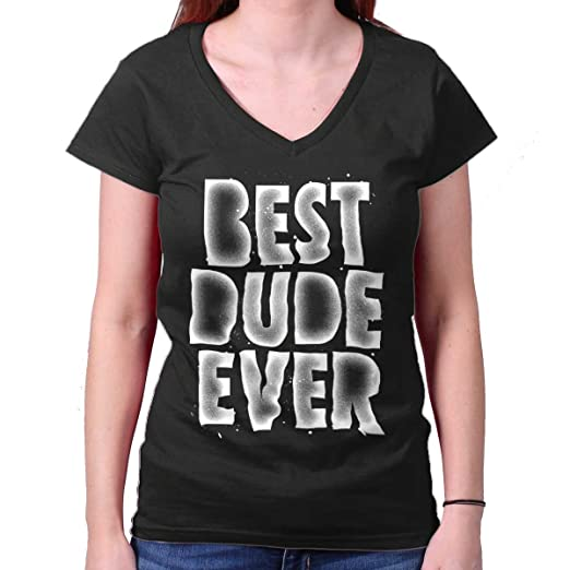 943e0c1319de Brisco Brands Best Dude Ever Funny Frienship Friend Junior Fit V-Neck T  Shirt Black