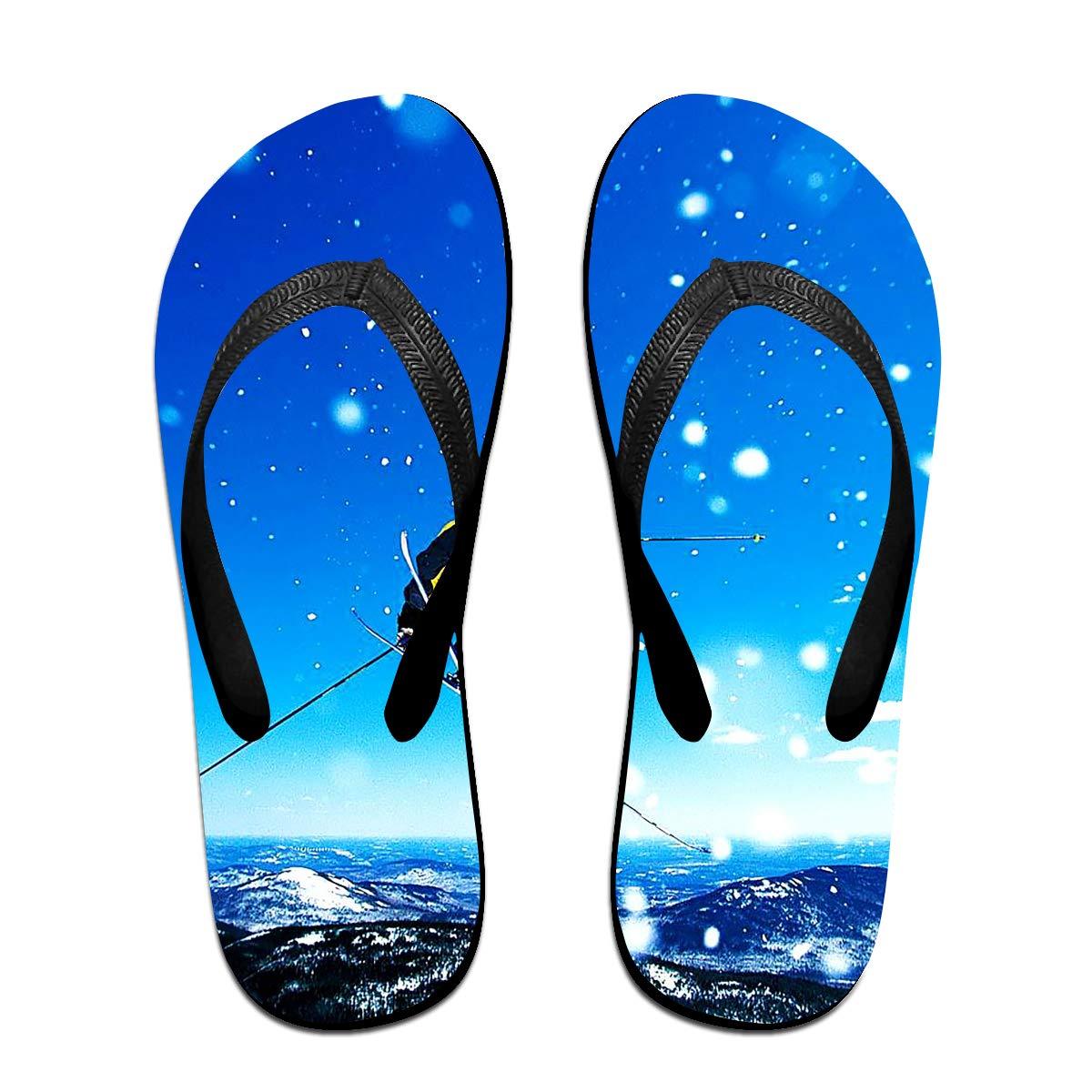 Couple Slipper Skiing Man Print Flip Flops Unisex Chic Sandals Rubber Non-Slip Spa Thong Slippers