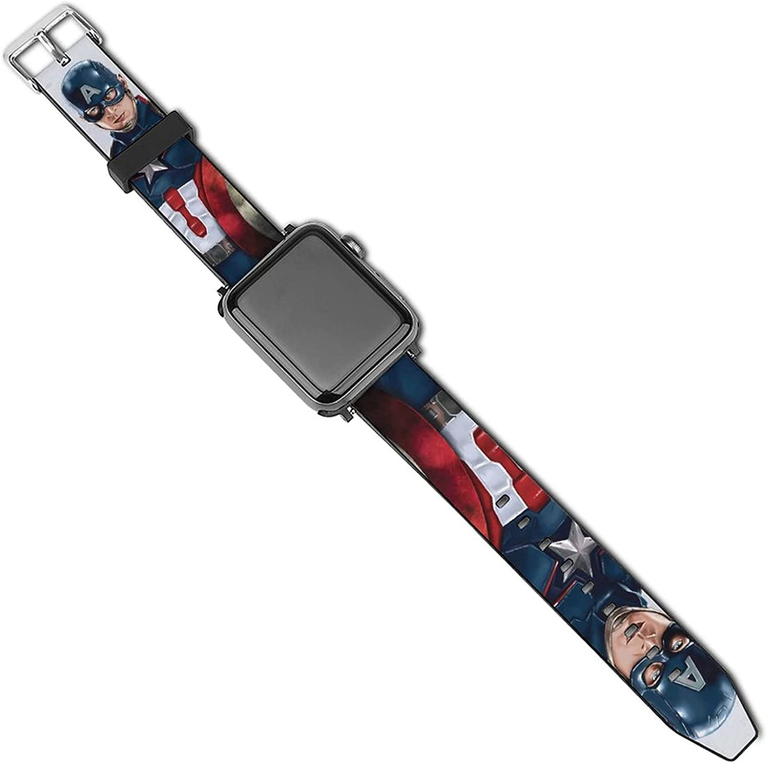 Captain America Apple Watch Diamond Protector Case Compatible with iWatch 38mm 40mm 42mm 44mm Bling PC Protective Case Bumper with Compatible with iWatch Series 6 / SE / 5 / 4/3/2/1