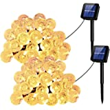UMANOR Globe Solar String Lights, 8 Modes 30 LED Crystal String Lights, 20ft Waterproof Crystal Ball for Outdoor/Indoor Decorations, Warm White (2 Pack)