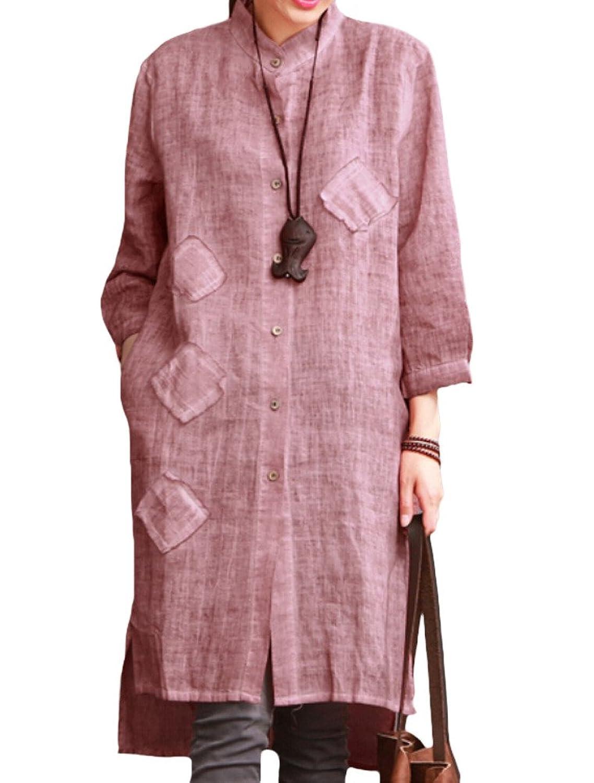 MatchLife Damen Patch Buttons Down Blusenkleider 3/4-Arm Kleider