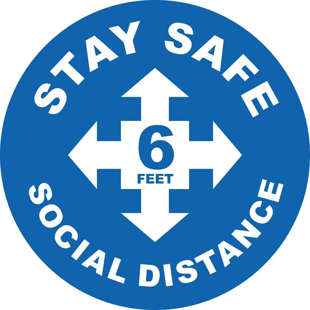 Social Distancing Floor Decal Sticker, 7 Inch Covid-19 Sign, 6 Feet Apart Stand Here Removable Adhesive Vinyl Floor Graphics, Safe Distance for Office, Business, School, Grocery (Blue, 25-Pack)