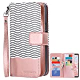 Samsung Note 8 Case, Note 8 Wallet Case, BENTOBEN Note 8 Flip Case Premium PU Leather Stripe Detachable Wrist Strap Magnetic Folio Wallet Phone Case Cover for Samsung Galaxy Note8 Cute Rose Gold/White