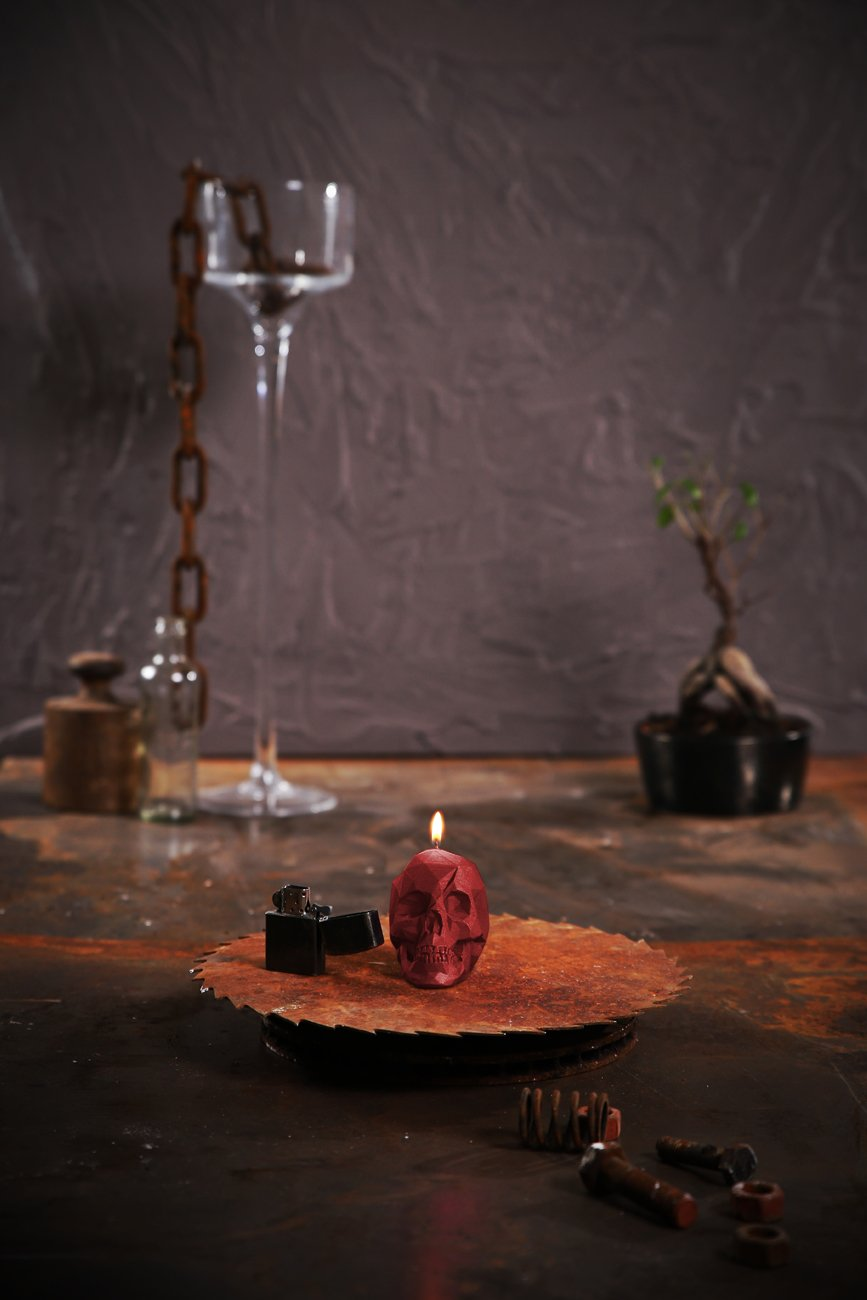 Candellana Candles Candellana- Small Skull Candle, Red