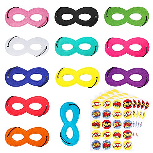 Superhero Mask, 12 Pack with 100 Round Superhero Stickers for Kids Party Favors