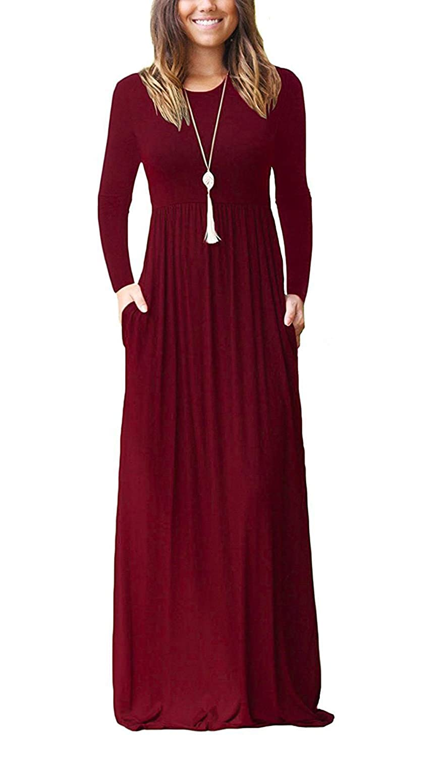 Freemale Womens Long Sleeve Crewneck Plain Casual Dress Long Maxi Dresses with Pockets