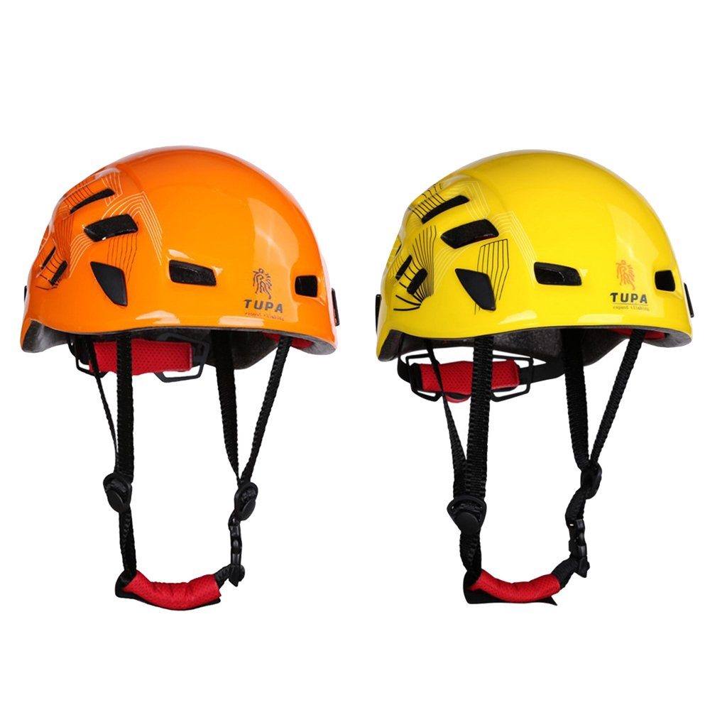 MonkeyJack 2 Pieces Lightweight Adjustable Mountaineering Safety Helmet Hard Hat for Rescue Rock Climbing Rappelling Protection Yellow + Orange 21''-24'' Head Circumference