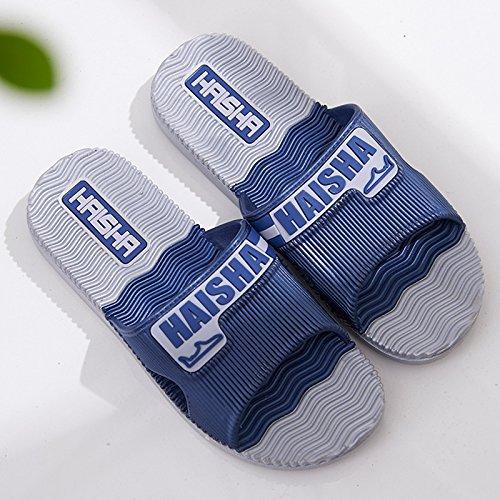 Y-Hui baño para hombres zapatillas, verano Indoor Home Anti-Skid de plástico, suelo de madera, baño Home sandalias Soft inferior,40 adecuado para 39 pies en tiempos ordinarios,ejército verde Navy Blue