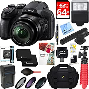 Panasonic DMC-FZ300K LUMIX FZ300 4K 24X F2.8 Long Zoom Digital Camera (Black) + Dual Battery Accessory Bundle