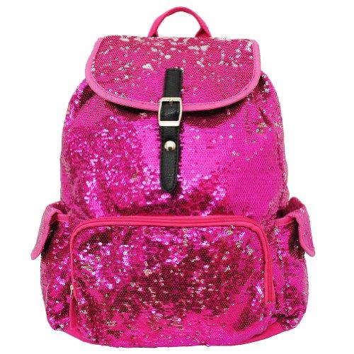 Glittery Sequined Drawstring Backpack Bookbag (HOTPINK) -