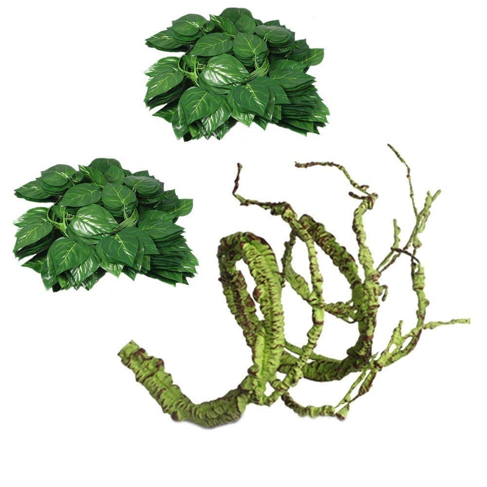 Flexible Bend-A-Branch Jungle Vines Plastic Terrarium Plant Leaves Pet Habitat Decor for Lizard,Frogs, Snakes and More Reptiles(Pack of 3)