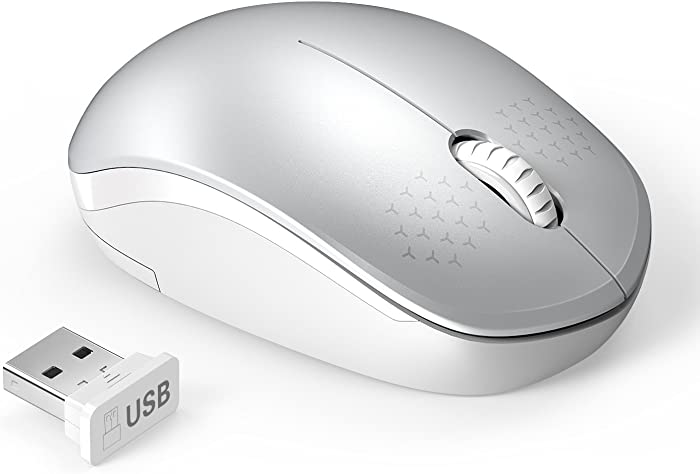 Wireless Mouse, 2.4G Noiseless Mouse with USB Receiver - seenda Portable Computer Mice for PC, Tablet, Laptop and Windows/Mac/Linux (White & Silver)