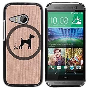 // MECELL CITY PRESENT // Cool Funda Cubierta Madera de cereza Duro PC Teléfono Estuche / Hard Case for HTC ONE MINI 2 / M8 MINI /// Dog Funny Sign Tag Fun ///