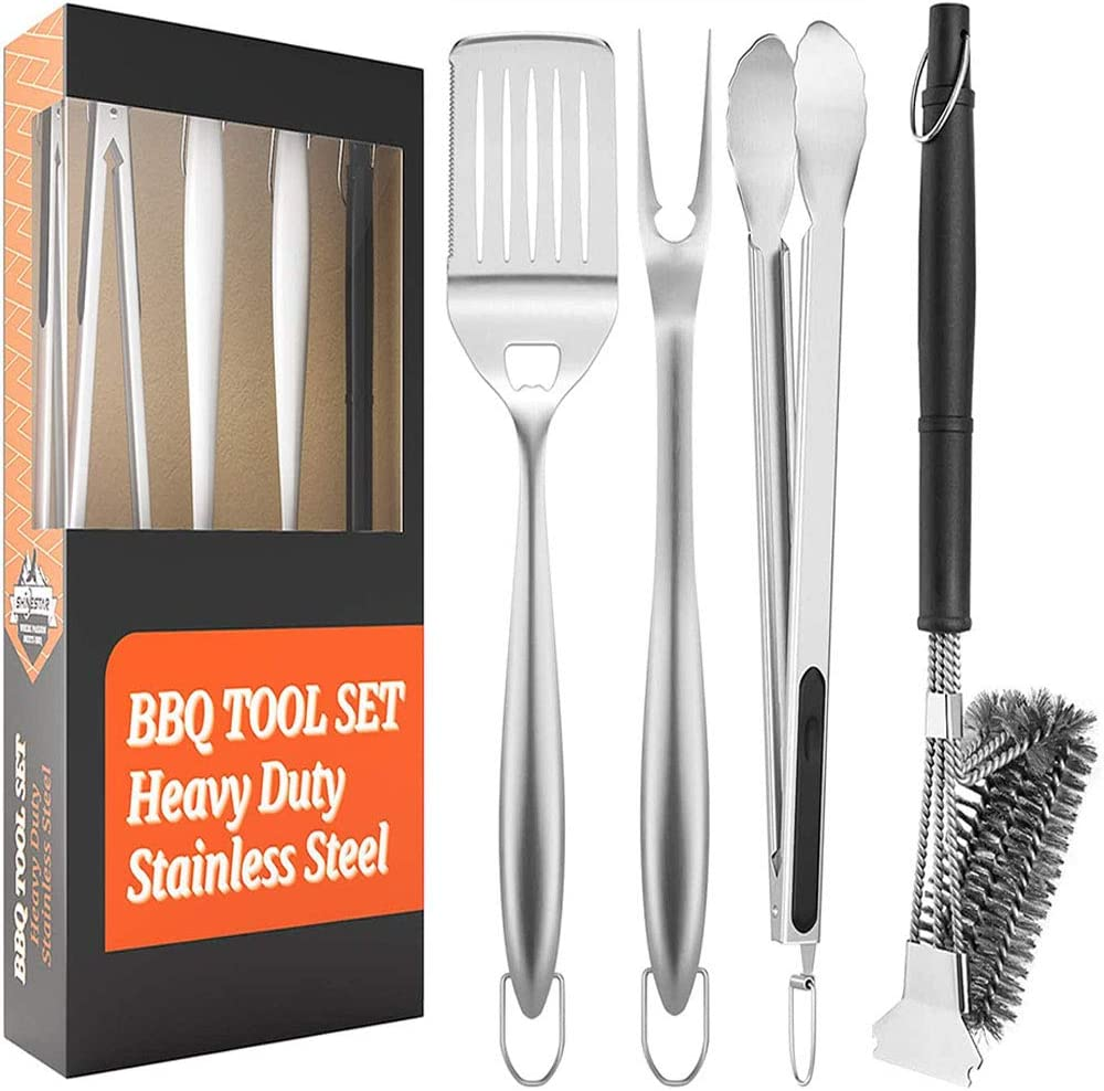 SHINESTAR Sturdy Outdoor Grill Tool Set with 18-Inch Comfortable Handles, Grill Brush, Spatula, Fork, Tong Included, Heavy Duty & Dishwasher Safe, 4pcs : Garden & Outdoor
