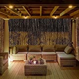 GreenClick 300 LED 8 Modes Window Curtain Icicle Lights String Fairy Lights Warm White Low Voltage Plug, Power Adapter Included for Wedding Party Garden Backdrops