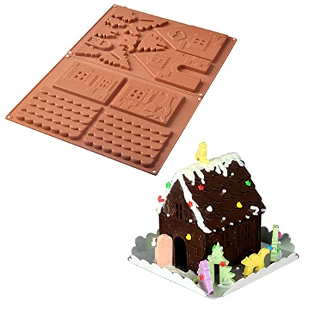 Pawaca gingerbread house kit 3d christmas chocolate cake candy pawaca gingerbread house kit 3d christmas chocolate cake candy silicone mold kit diy build it yourself solutioingenieria Choice Image