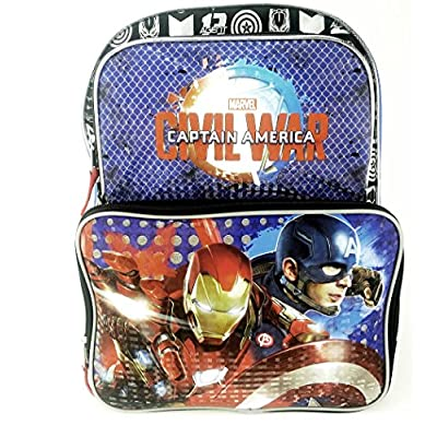 "good Child Marvel Civil War Captain America Iron Man 16"" Backpack"