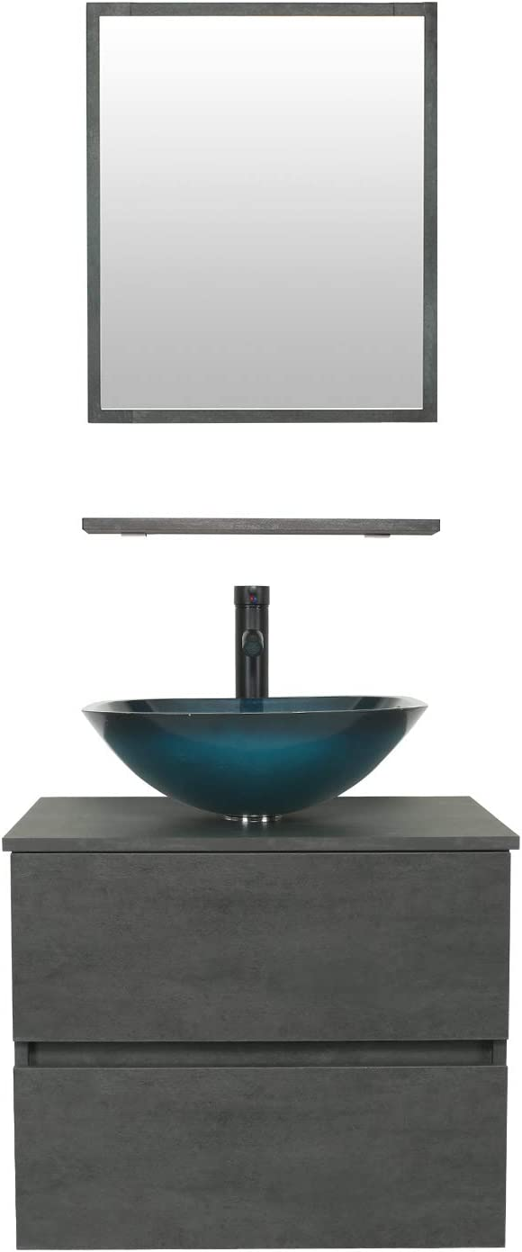 eclife 24 Bathroom Vanity Sink Combo Wall Mounted Concrete Grey Cabinet Two Drawers Vanity Set Ocean Blue Square Tempered Glass Vessel Sink Top, W/ORB Faucet, Pop Up Drain & Mirror (A04E02CC) 616YY0ov2BQL