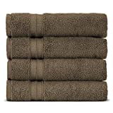 Towel Bazaar Premium Eco-Friendly 100% Turkish Cotton Hand Towel Set of 4, Multipurpose Bathroom Towels for Hand, Face, Gym and Spa (16 x 30 inches, Cocoa)