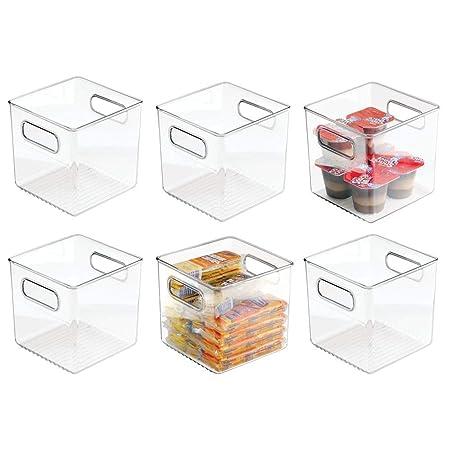mDesign Juego de 6 cajas organizadoras con asas - Organizador de ...