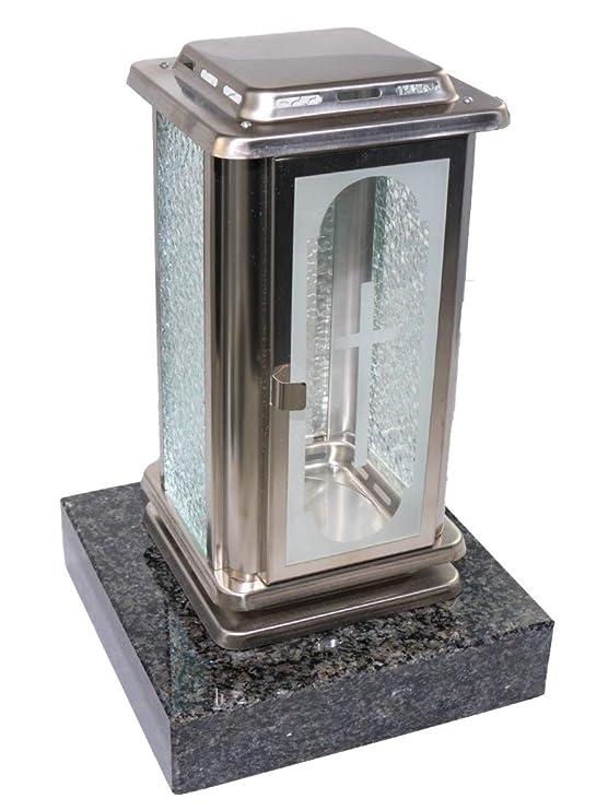 Kunst-Art-Köhl Grablaterne Edelstahl mit Kreuz Grablampe montiert auf Einem Granitsockel,Grablampe (Nero Impala)