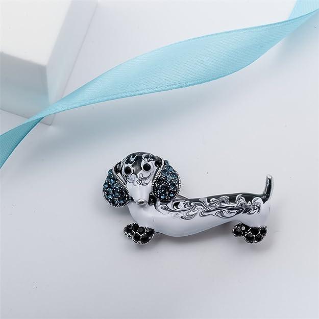 Loveangel Jewellery Valentine Day Enamel Crystal Dog Dachshund Puppy Jewelry Brooch Pin baAtLDSY