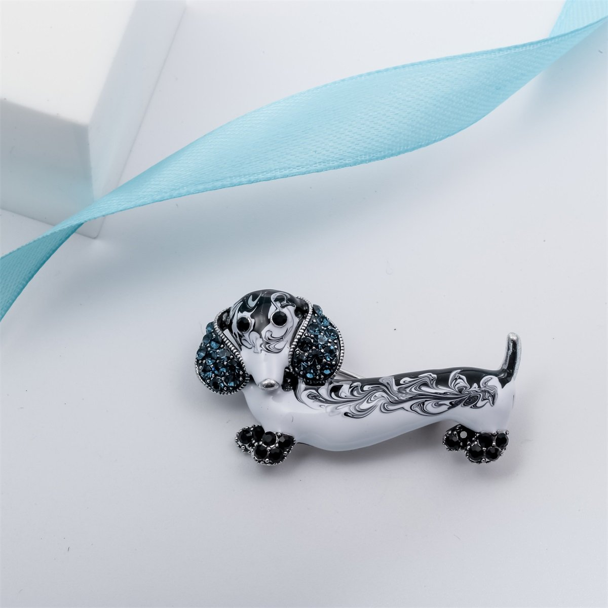 Szxc Jewelry Crystal Sparkly Dachshund Dog Puppy Animal Collection Accessories Brooch Pin Gift Women by Szxc Jewelry (Image #2)