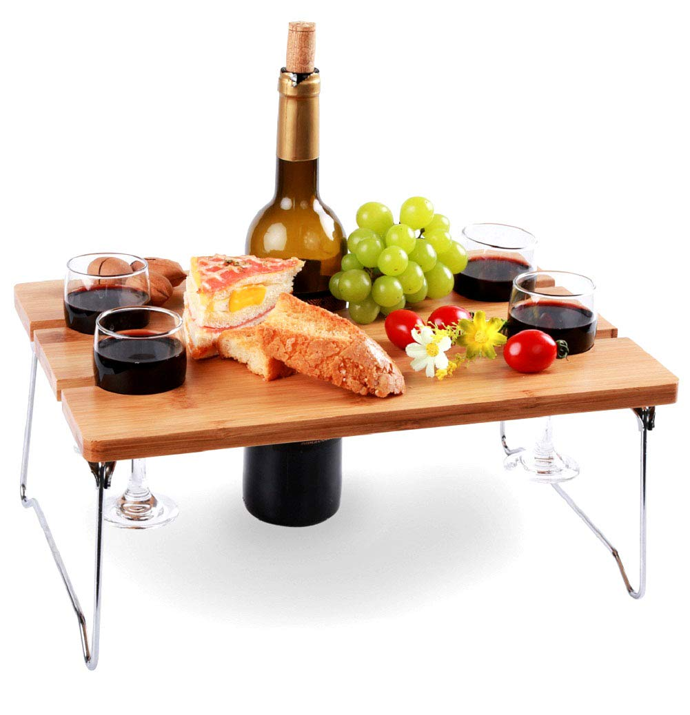 Portable and Foldable Wine and Snack Table for Picnic Outdoor on The Beach Park or Indoor Bed for 2 or 4 - Best Gift for Mother Day
