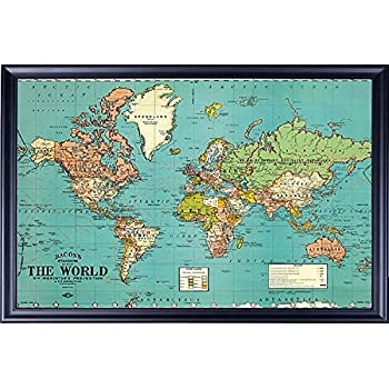 Bacons Old Map of the World Map Parchment Paper in Walnut Wood Frame Wall Decor