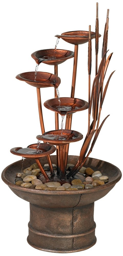 Water Lilies and Cat Tails 33'' High Fountain
